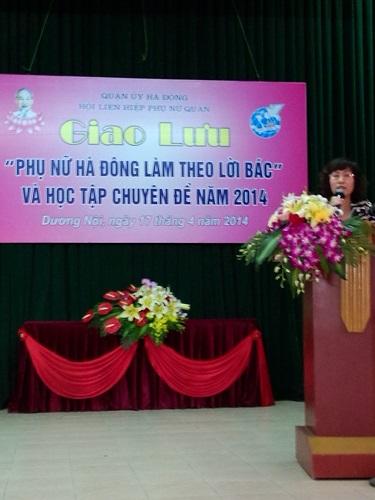 Giao lưu  Phụ nữ Hà Đông làm theo lời Bác; sơ kết chỉ thị 03/BTC và triển khai thực hiện chuyên đề năm 2014 về  Phát huy tinh thần trách nhiệm, chống chủ nghĩa cá nhân, nói đi đôi với làm